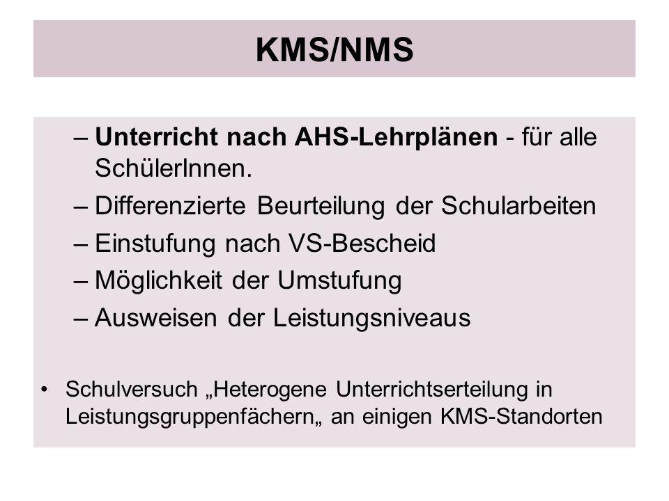 KMS/NMS Unterricht nach AHS-Lehrplänen - für alle SchülerInnen.