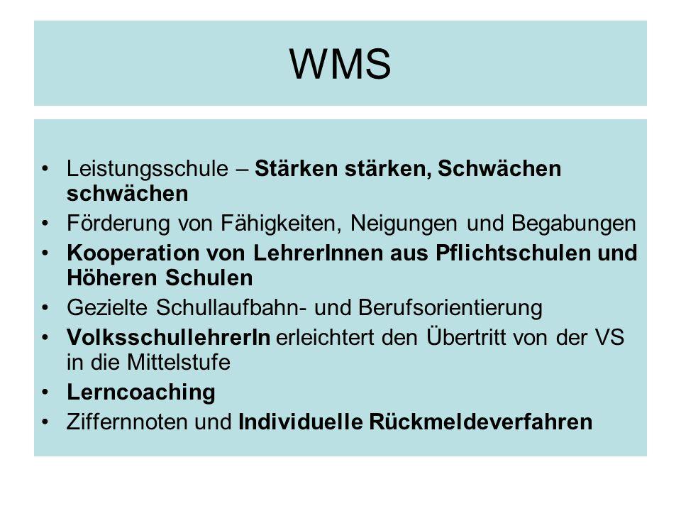 WMS Leistungsschule – Stärken stärken, Schwächen schwächen