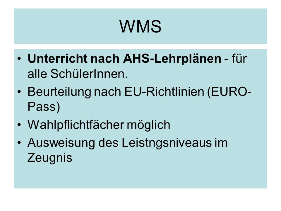 WMS Unterricht nach AHS-Lehrplänen - für alle SchülerInnen.