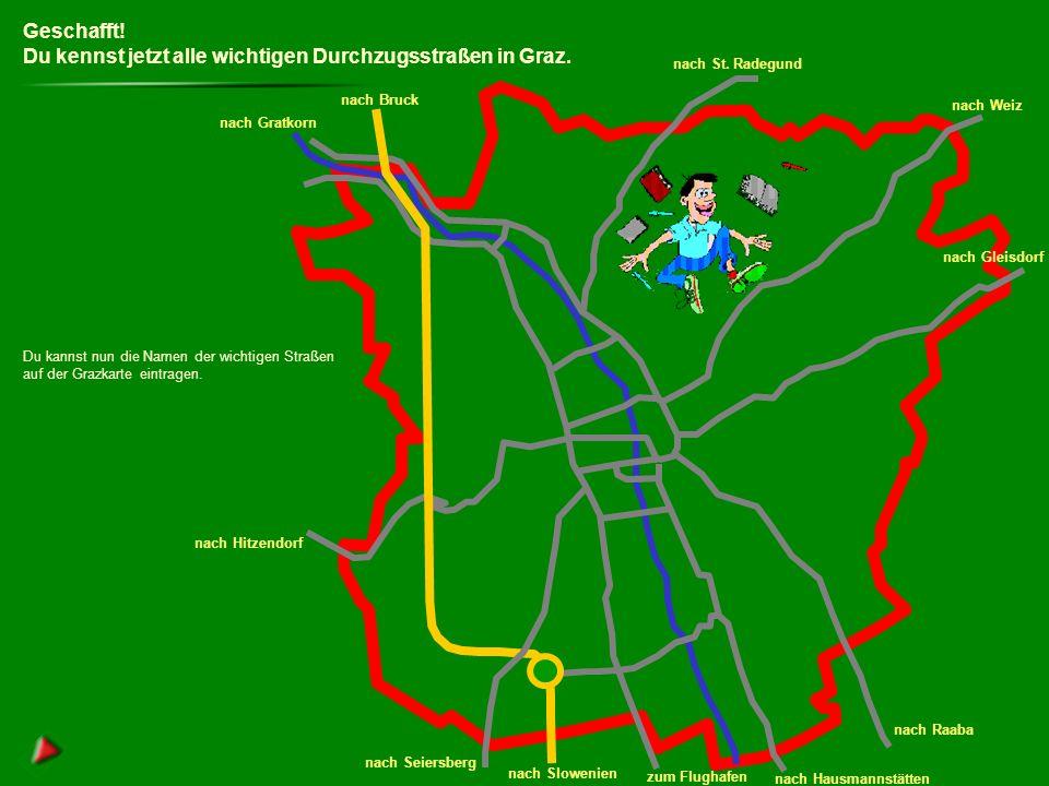 Du kennst jetzt alle wichtigen Durchzugsstraßen in Graz.