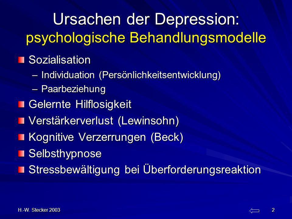 Ursachen der Depression: psychologische Behandlungsmodelle