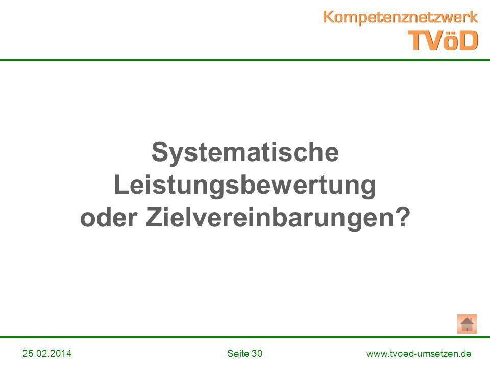 Systematische Leistungsbewertung oder Zielvereinbarungen