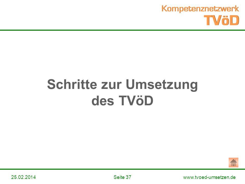Schritte zur Umsetzung des TVöD