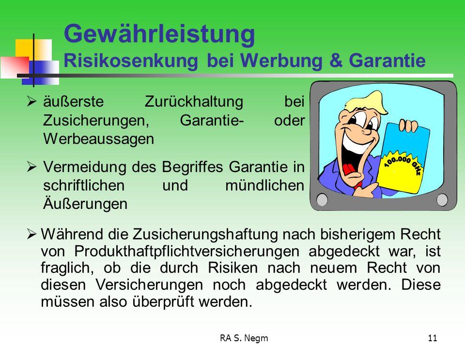 Gewährleistung Risikosenkung bei Werbung & Garantie