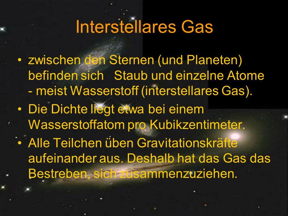 Interstellares Gas zwischen den Sternen (und Planeten) befinden sich Staub und einzelne Atome - meist Wasserstoff (interstellares Gas).