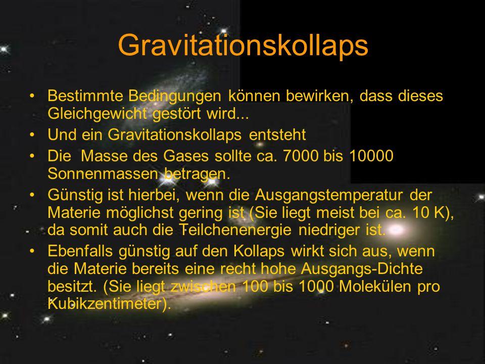 Gravitationskollaps Bestimmte Bedingungen können bewirken, dass dieses Gleichgewicht gestört wird...