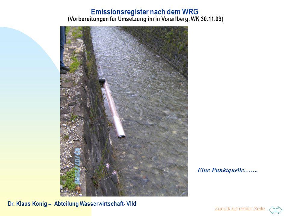 28.03.2017 Emissionsregister nach dem WRG (Vorbereitungen für Umsetzung im in Vorarlberg, WK 30.11.09)