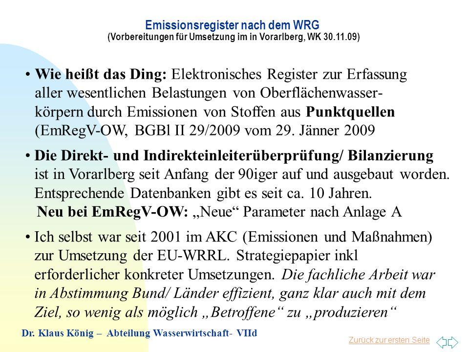 """Neu bei EmRegV-OW: """"Neue Parameter nach Anlage A"""