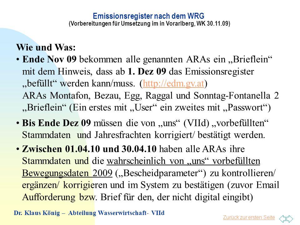 Emissionsregister nach dem WRG (Vorbereitungen für Umsetzung im in Vorarlberg, WK 30.11.09)