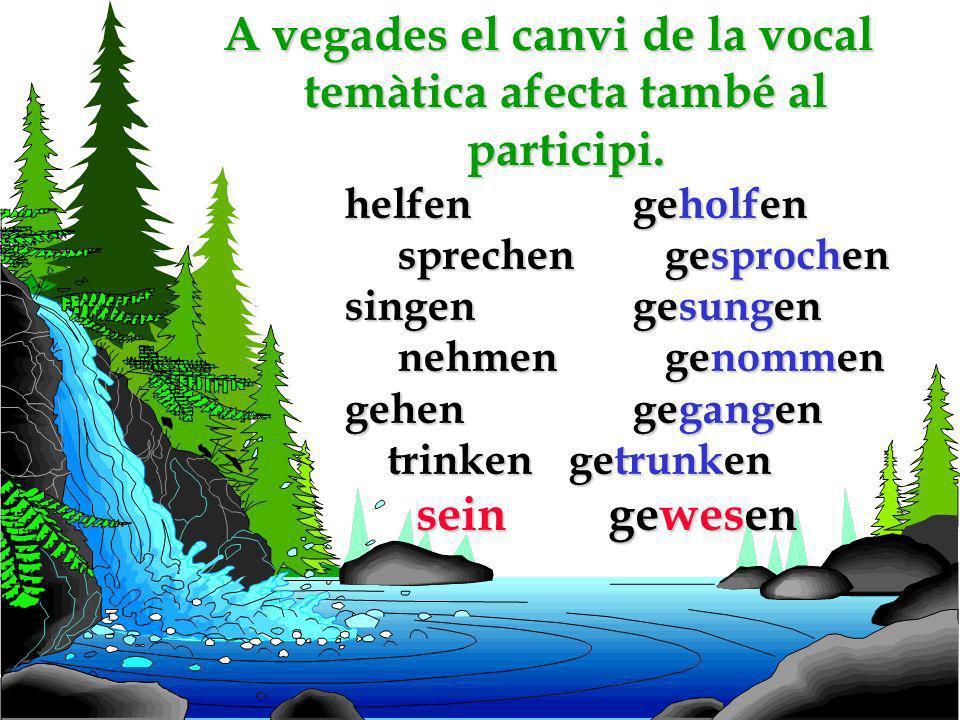 A vegades el canvi de la vocal temàtica afecta també al participi.