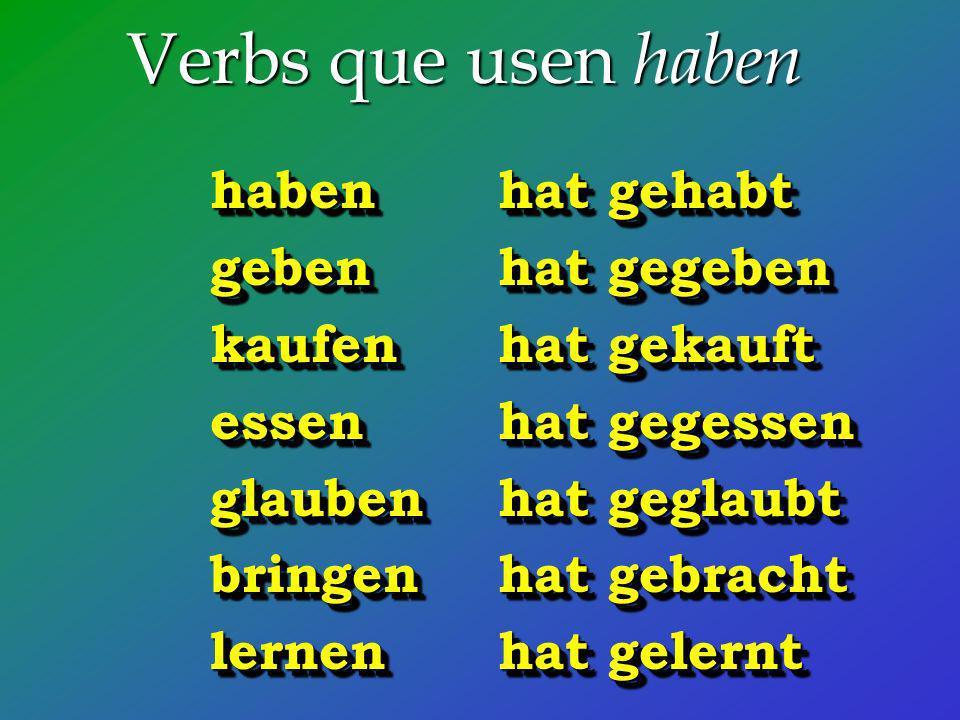 Verbs que usen haben haben hat gehabt geben hat gegeben