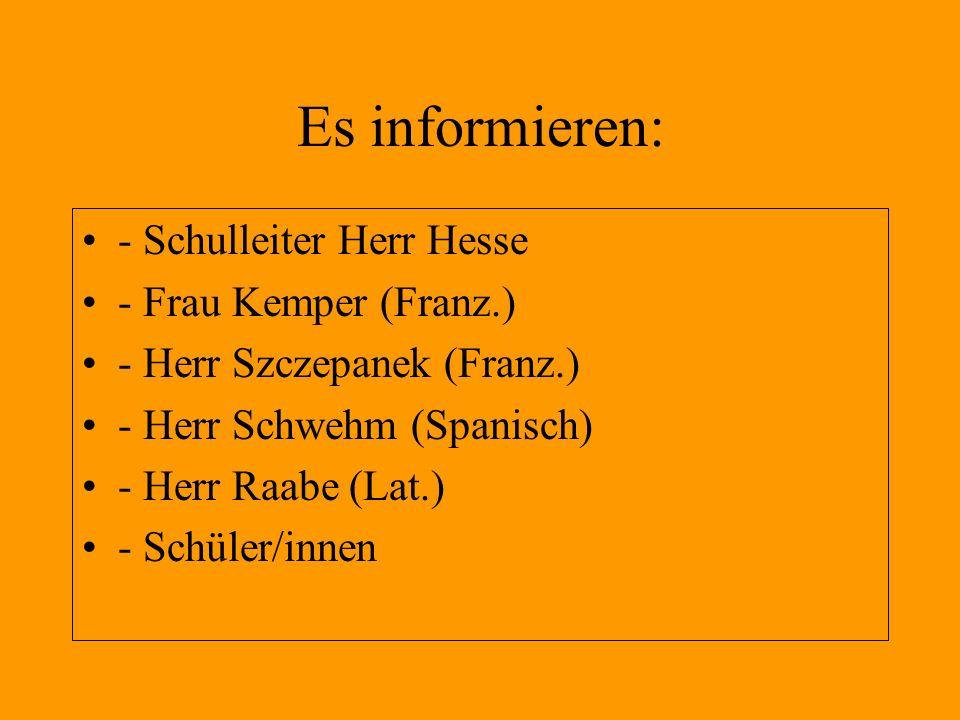 Es informieren: - Schulleiter Herr Hesse - Frau Kemper (Franz.)