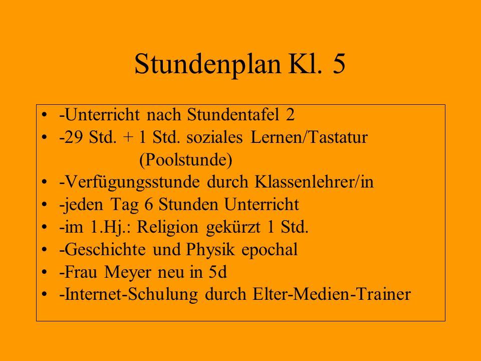 Stundenplan Kl. 5 -Unterricht nach Stundentafel 2