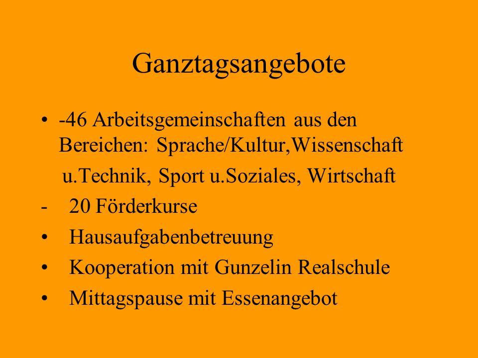 Ganztagsangebote -46 Arbeitsgemeinschaften aus den Bereichen: Sprache/Kultur,Wissenschaft. u.Technik, Sport u.Soziales, Wirtschaft.