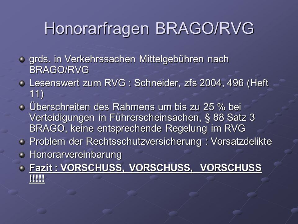 Honorarfragen BRAGO/RVG