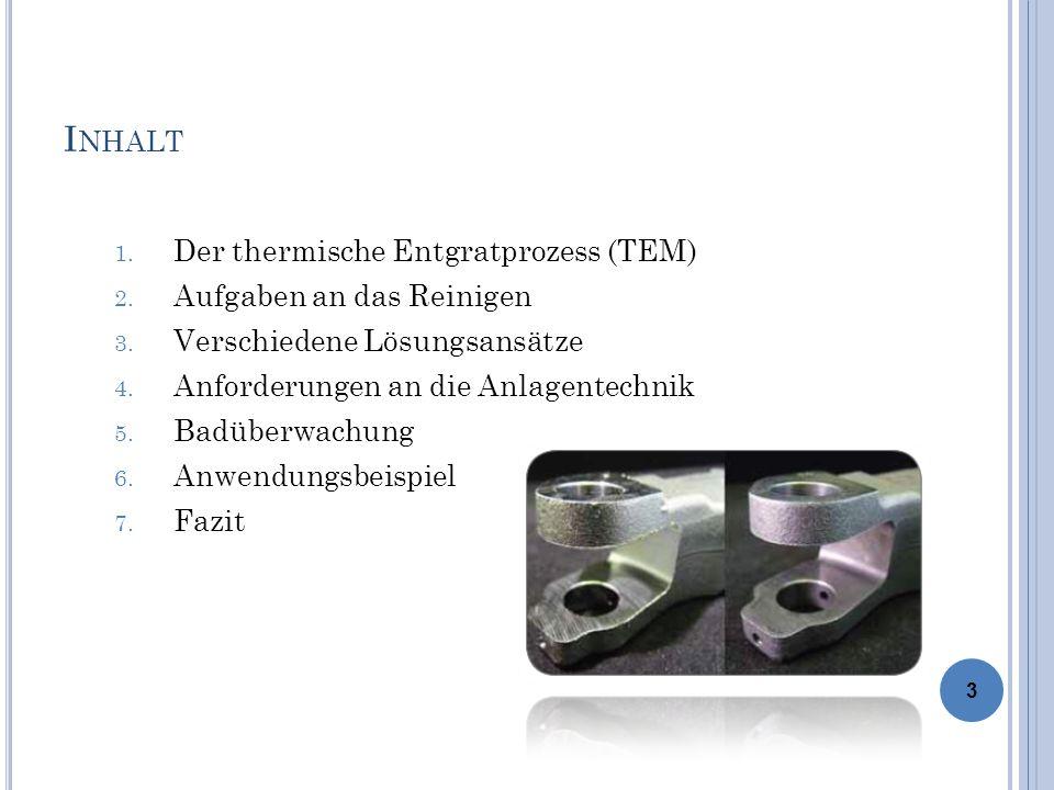 Inhalt Der thermische Entgratprozess (TEM) Aufgaben an das Reinigen