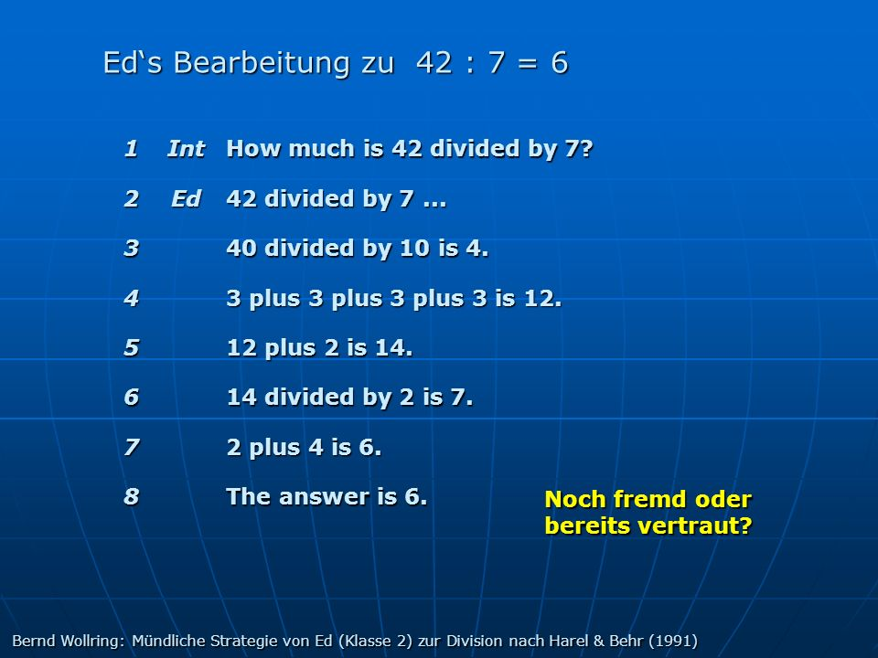 Ed's Bearbeitung zu 42 : 7 = 6 1 Int How much is 42 divided by 7 2 Ed