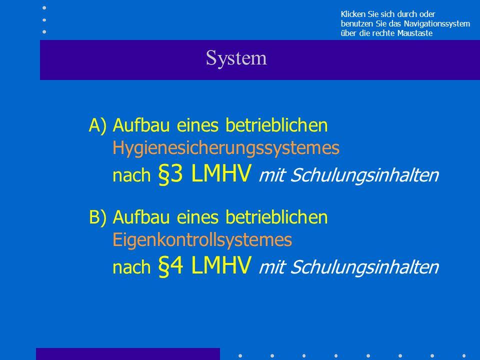 System A) Aufbau eines betrieblichen Hygienesicherungssystemes