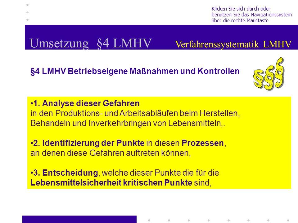 Umsetzung §4 LMHV Verfahrenssystematik LMHV