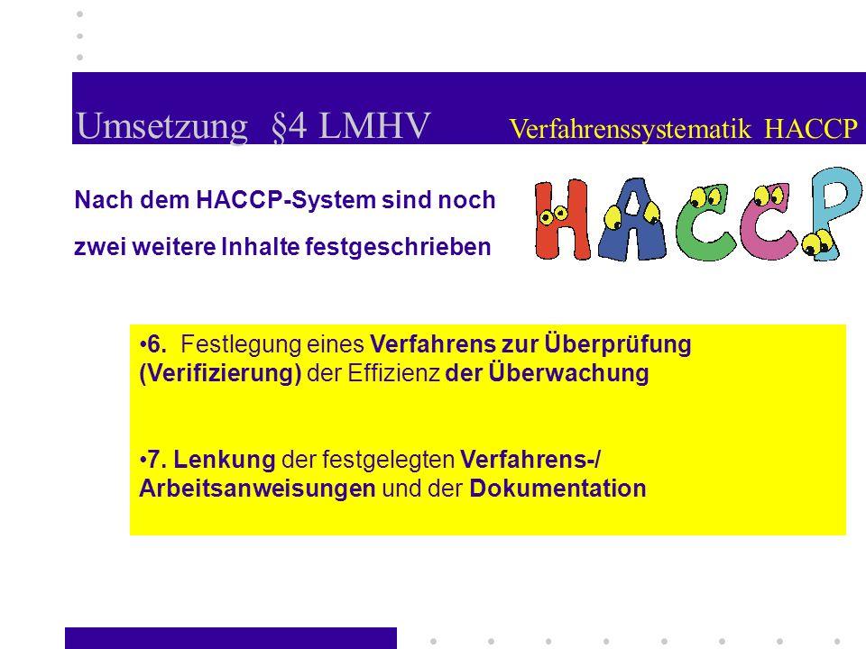 Umsetzung §4 LMHV Verfahrenssystematik HACCP