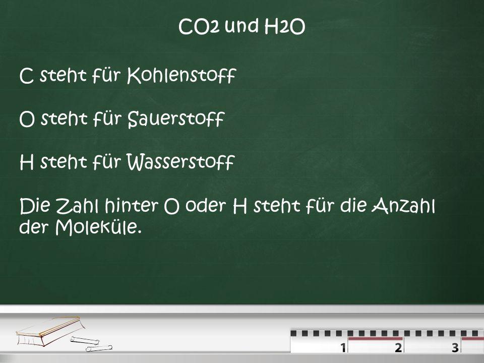 CO2 und H2O C steht für Kohlenstoff. O steht für Sauerstoff.