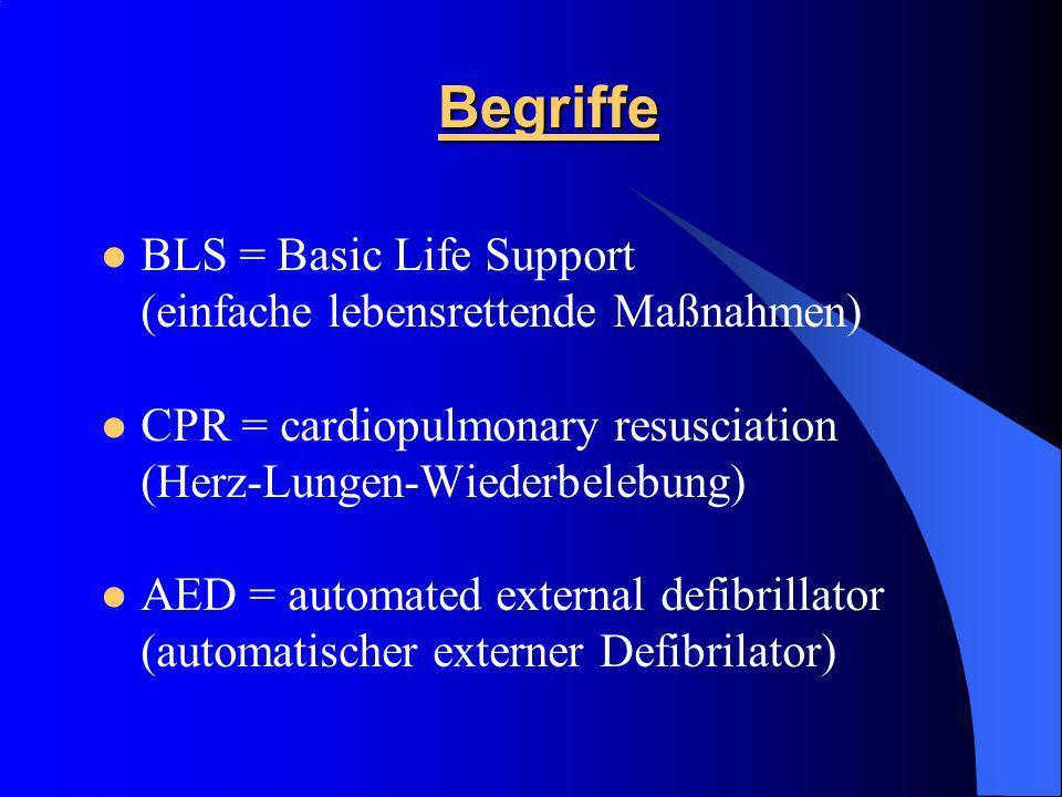 Begriffe BLS = Basic Life Support (einfache lebensrettende Maßnahmen)