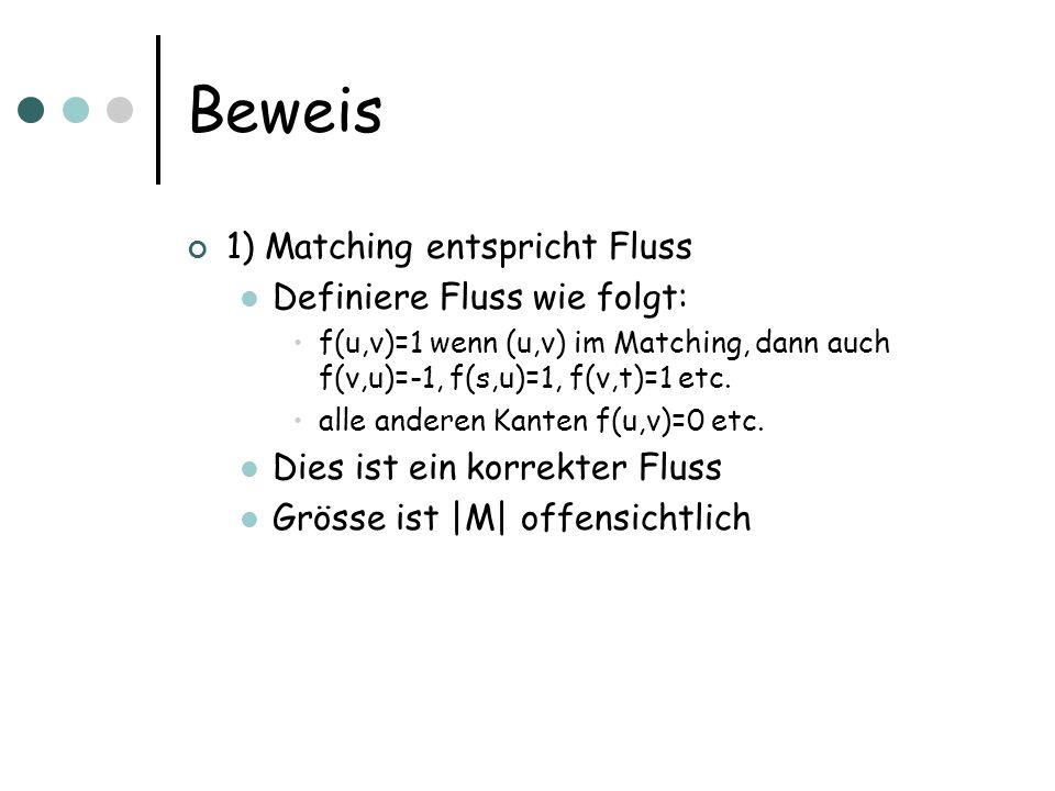 Beweis 1) Matching entspricht Fluss Definiere Fluss wie folgt: