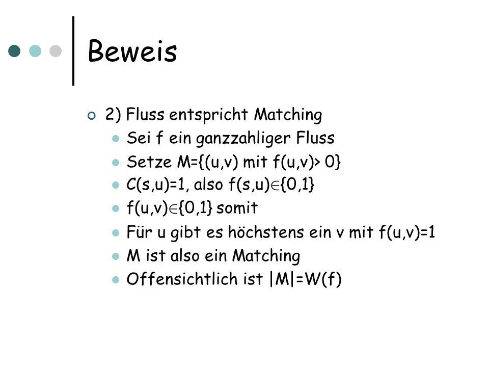 Beweis 2) Fluss entspricht Matching Sei f ein ganzzahliger Fluss