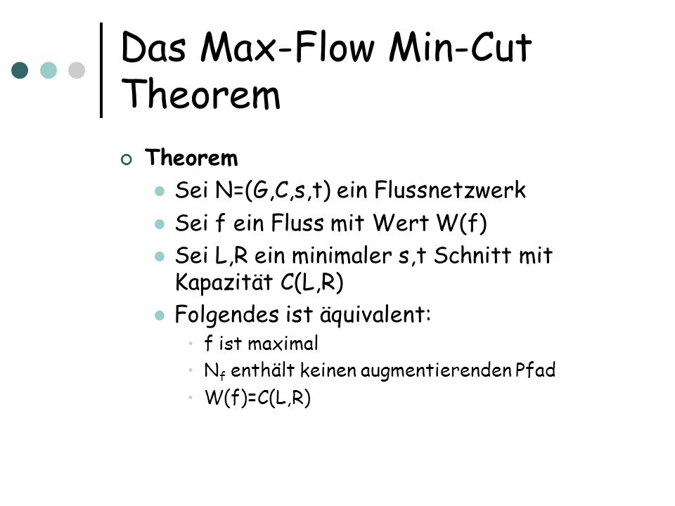 Das Max-Flow Min-Cut Theorem