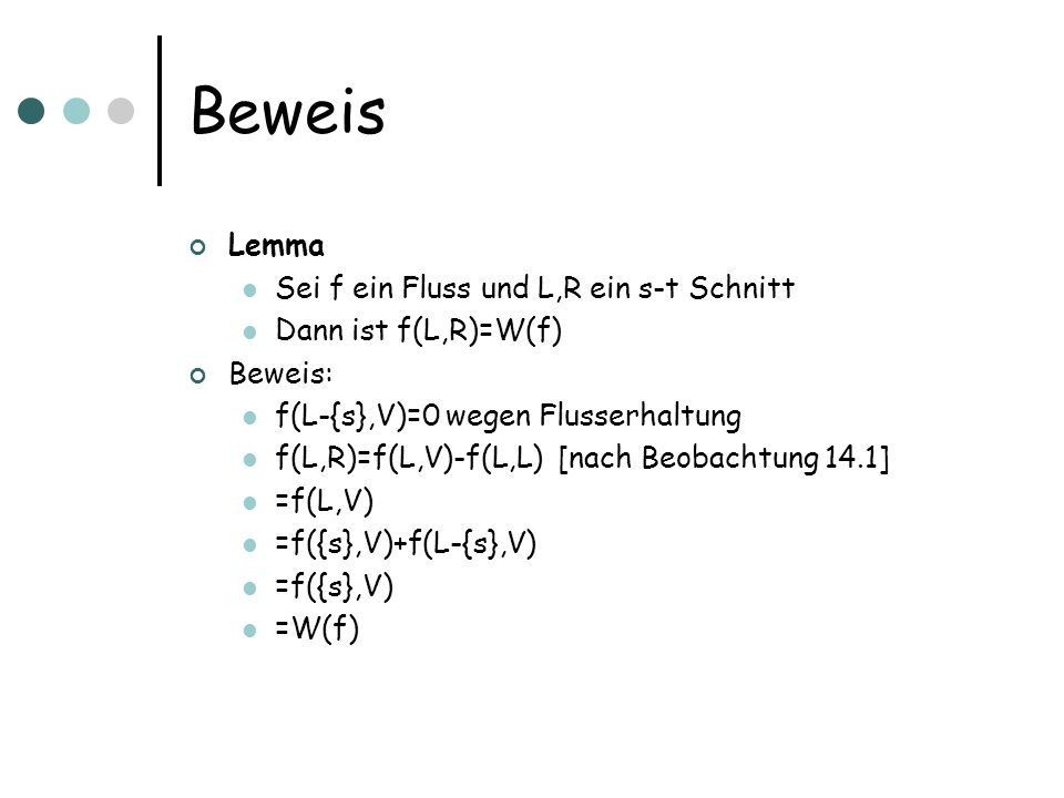 Beweis Lemma Sei f ein Fluss und L,R ein s-t Schnitt