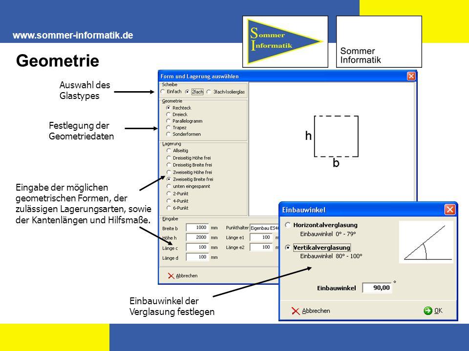 Geometrie www.sommer-informatik.de Auswahl des Glastypes