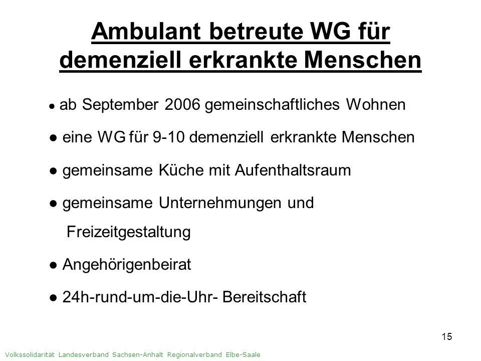 Ambulant betreute WG für demenziell erkrankte Menschen