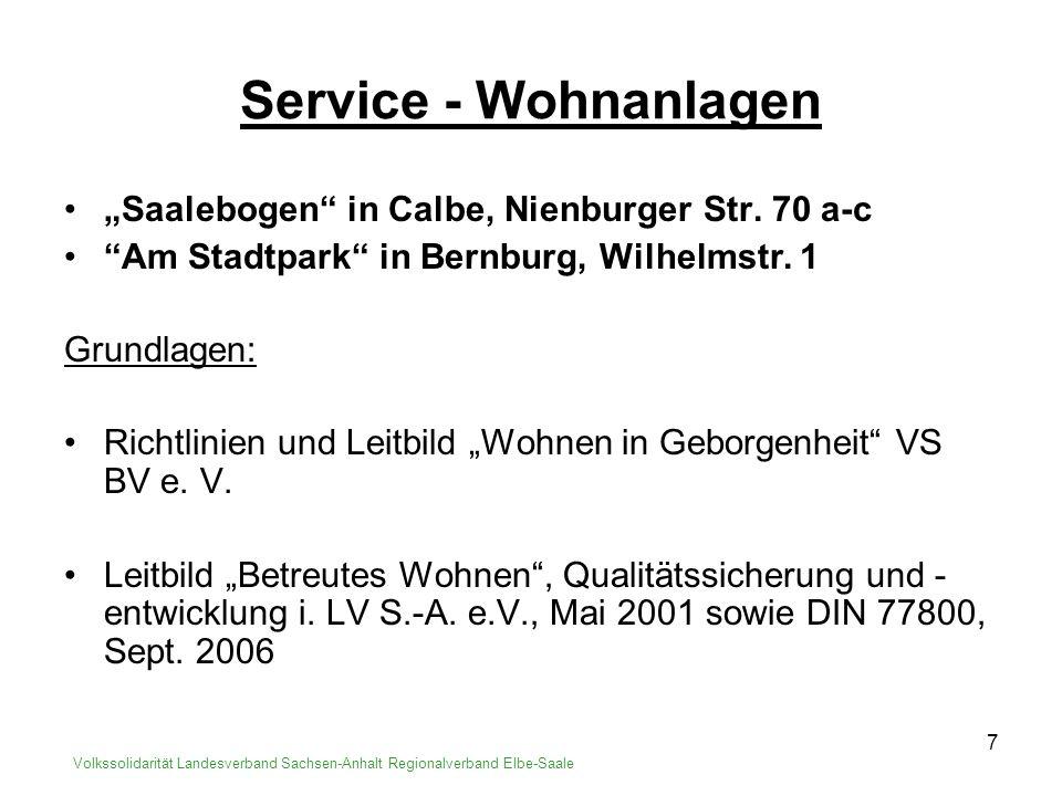 """Service - Wohnanlagen """"Saalebogen in Calbe, Nienburger Str. 70 a-c"""
