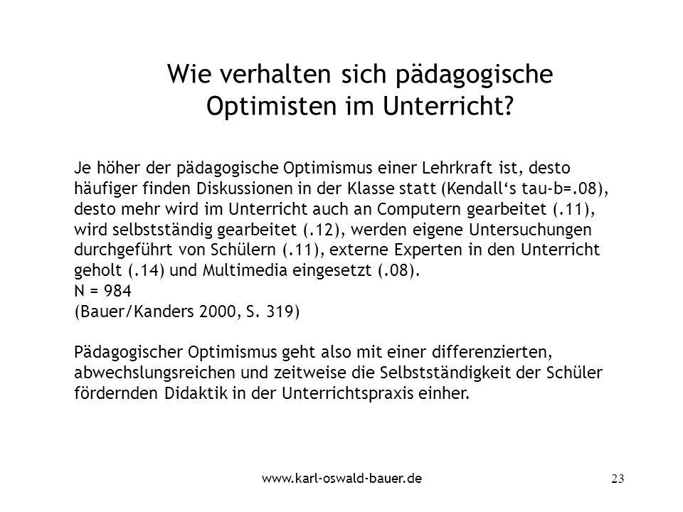 Wie verhalten sich pädagogische Optimisten im Unterricht