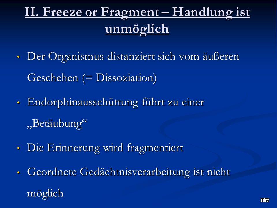 II. Freeze or Fragment – Handlung ist unmöglich