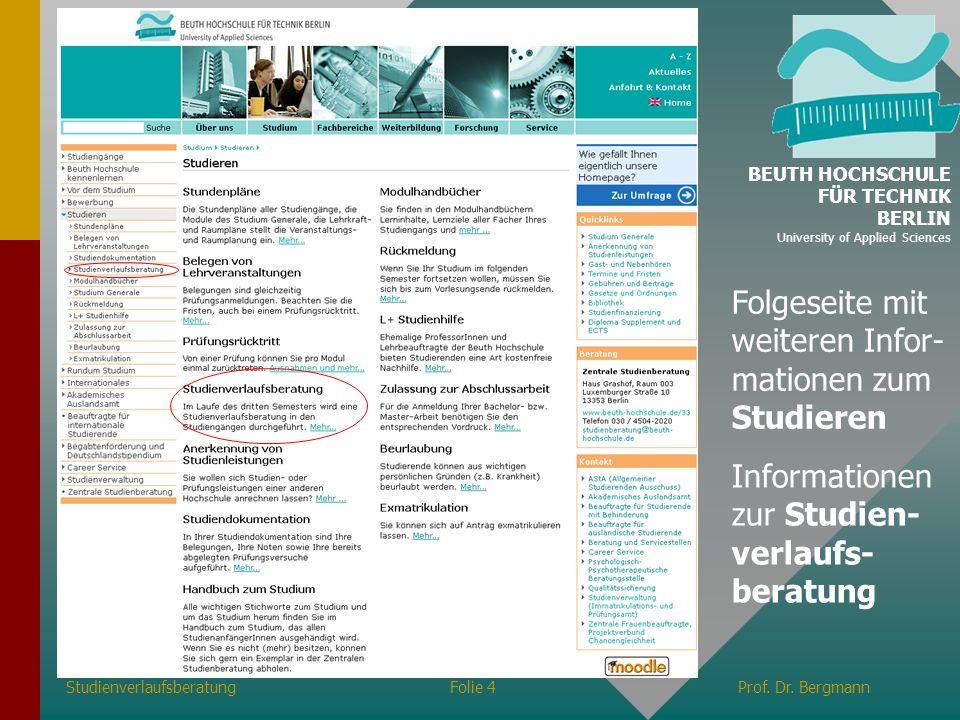 Folgeseite mit weiteren Infor-mationen zum Studieren
