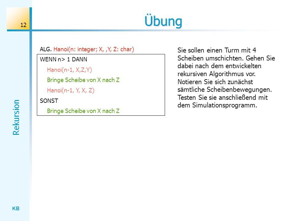Übung ALG. Hanoi(n: integer; X, ,Y, Z: char) WENN n> 1 DANN. Hanoi(n-1, X,Z,Y) Bringe Scheibe von X nach Z.