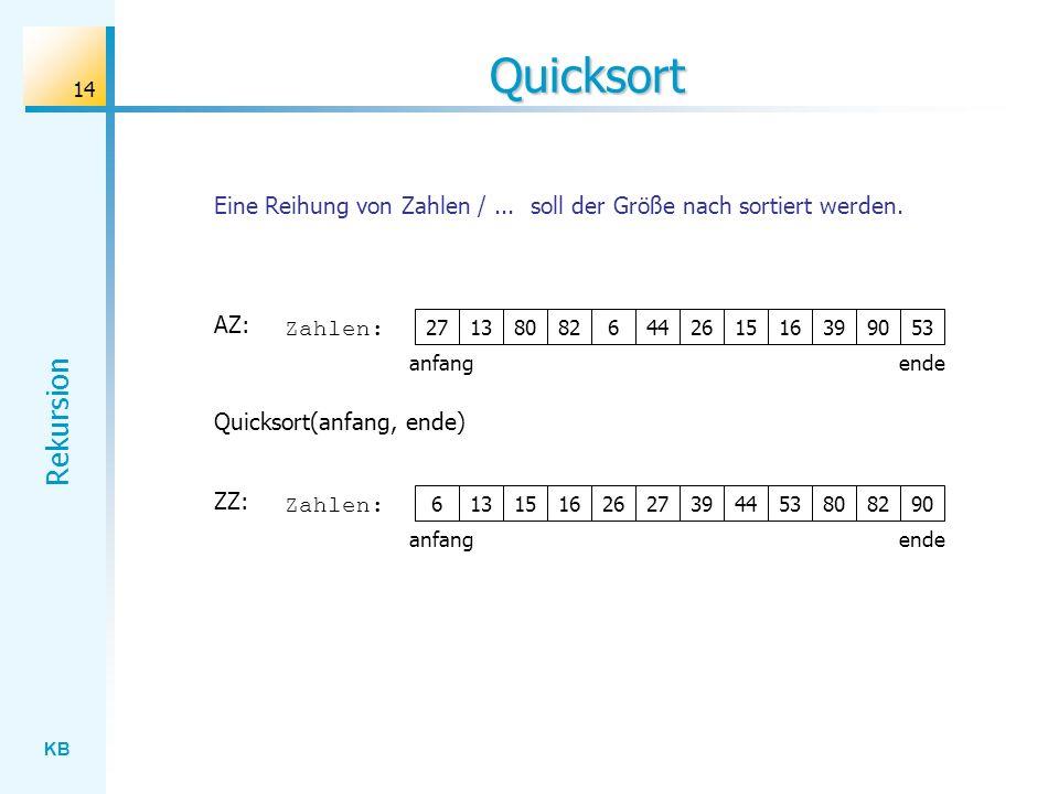 Quicksort Eine Reihung von Zahlen / ... soll der Größe nach sortiert werden. AZ: Zahlen: 27. 13.