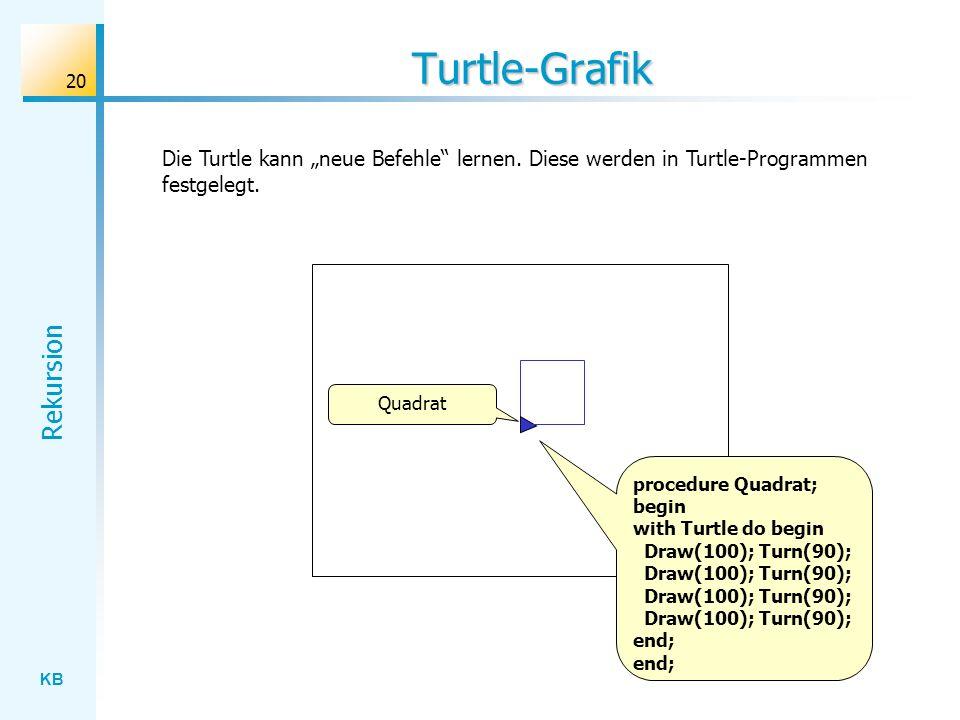 """Turtle-Grafik Die Turtle kann """"neue Befehle lernen. Diese werden in Turtle-Programmen festgelegt. Quadrat."""