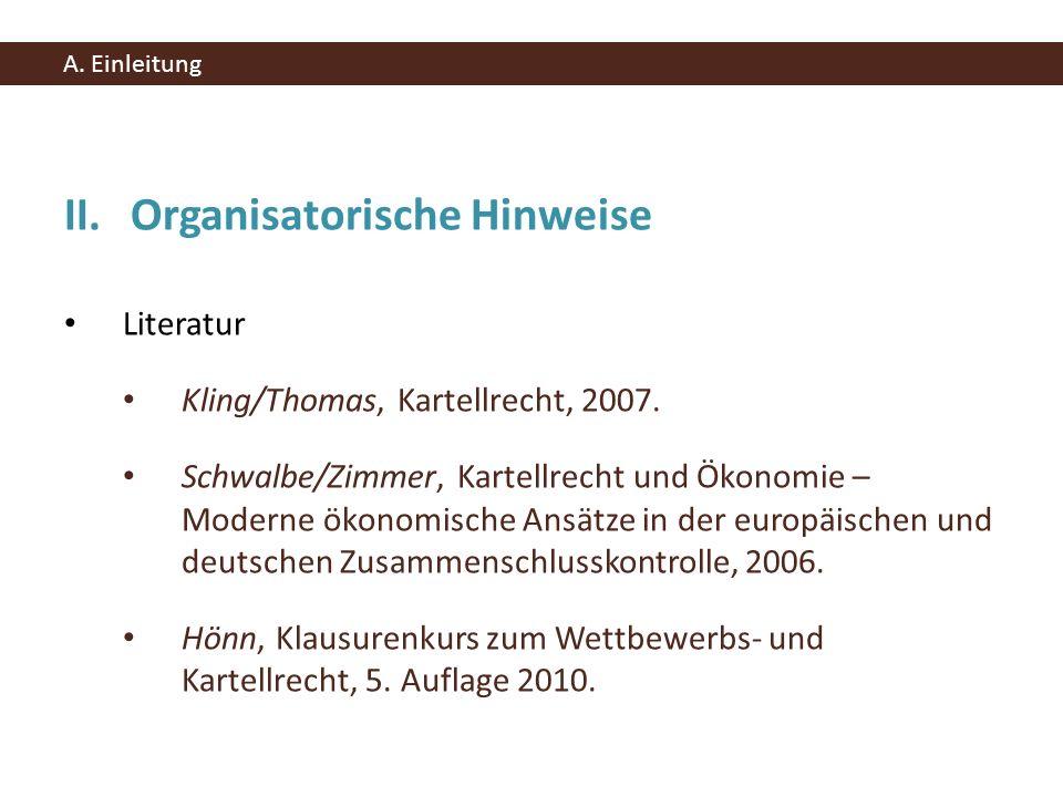 II. Organisatorische Hinweise