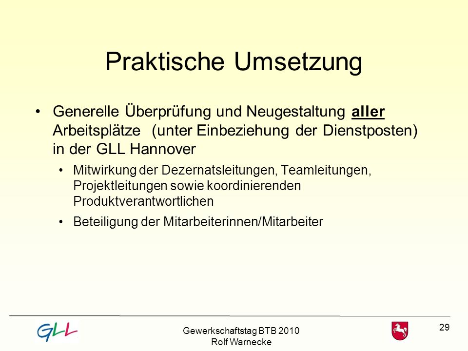 Praktische Umsetzung Generelle Überprüfung und Neugestaltung aller Arbeitsplätze (unter Einbeziehung der Dienstposten) in der GLL Hannover.