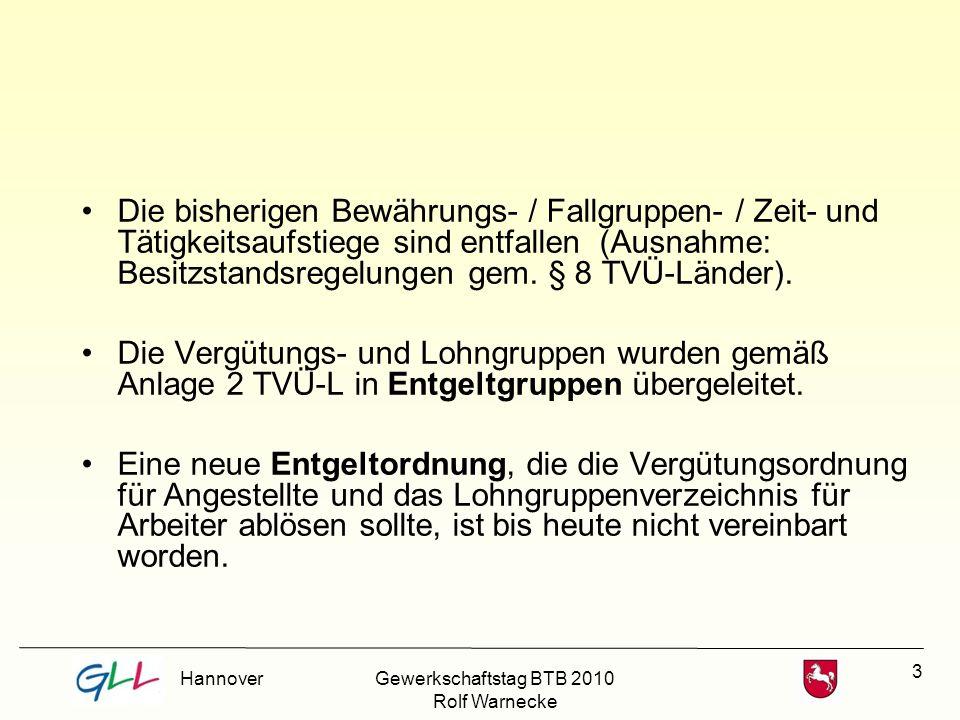 Die bisherigen Bewährungs- / Fallgruppen- / Zeit- und Tätigkeitsaufstiege sind entfallen (Ausnahme: Besitzstandsregelungen gem. § 8 TVÜ-Länder).