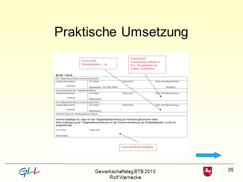 Praktische Umsetzung Gewerkschaftstag BTB 2010 Rolf Warnecke