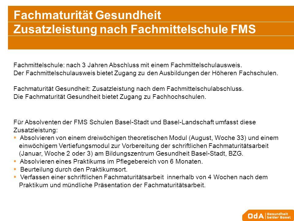 Fachmaturität Gesundheit Zusatzleistung nach Fachmittelschule FMS