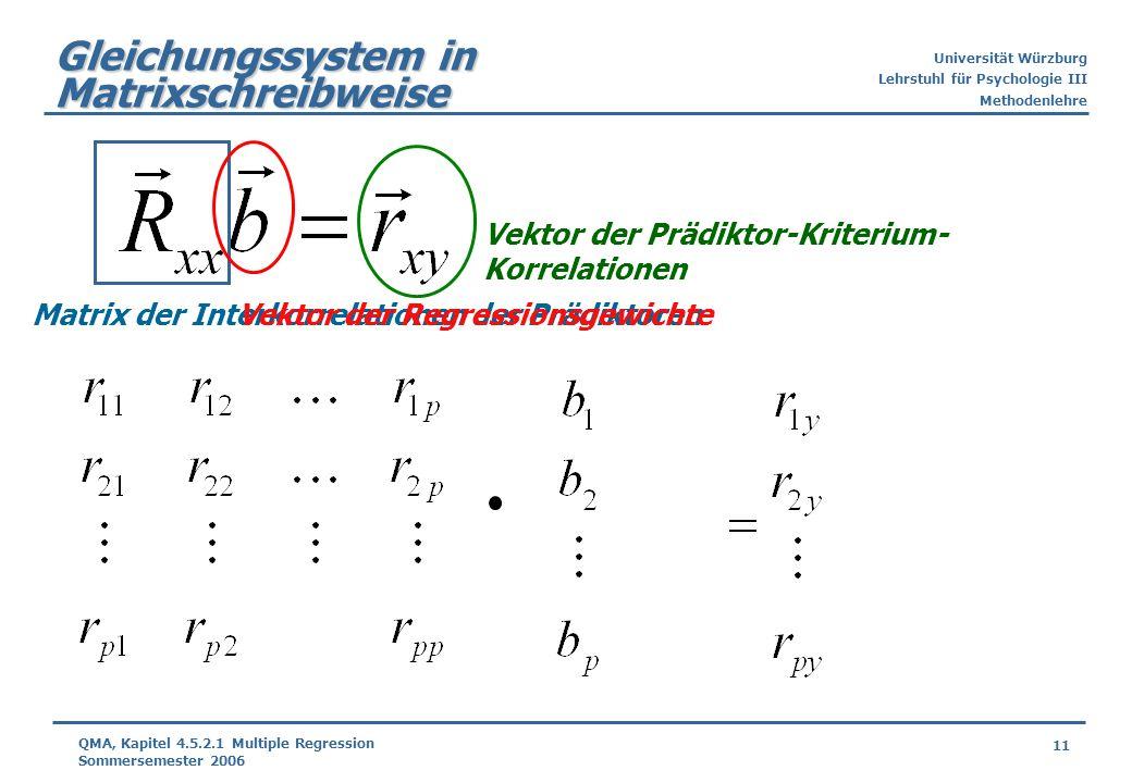 Gleichungssystem in Matrixschreibweise