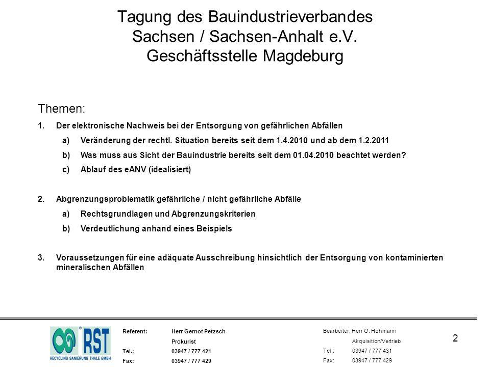 Tagung des Bauindustrieverbandes Sachsen / Sachsen-Anhalt e. V