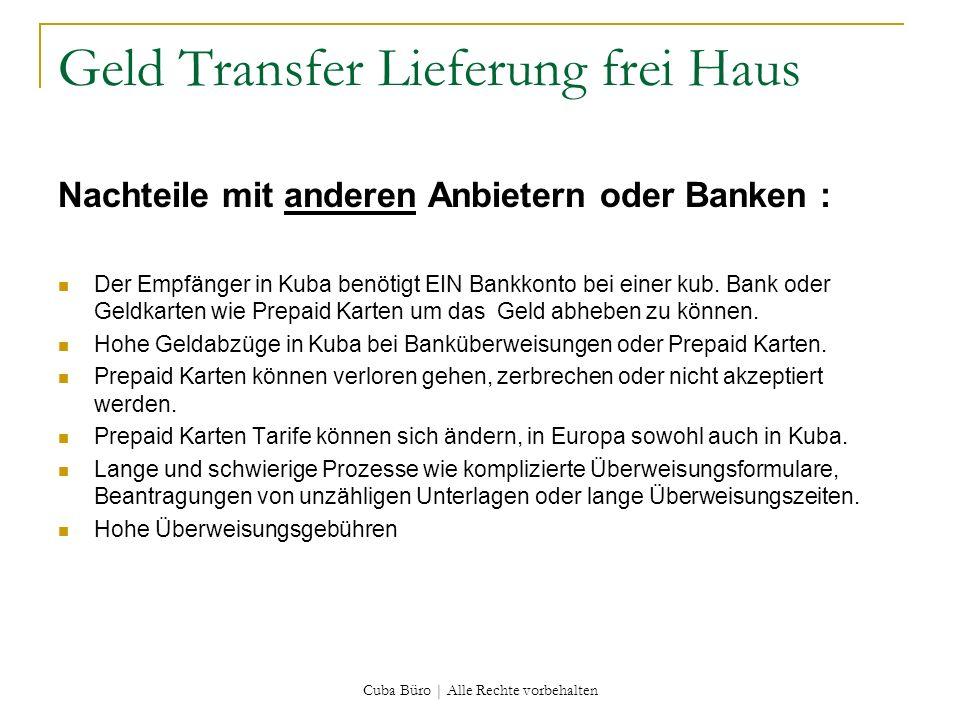 Geld Transfer Lieferung frei Haus