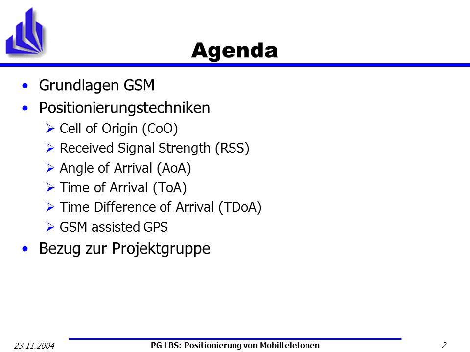 Agenda Grundlagen GSM Positionierungstechniken Bezug zur Projektgruppe