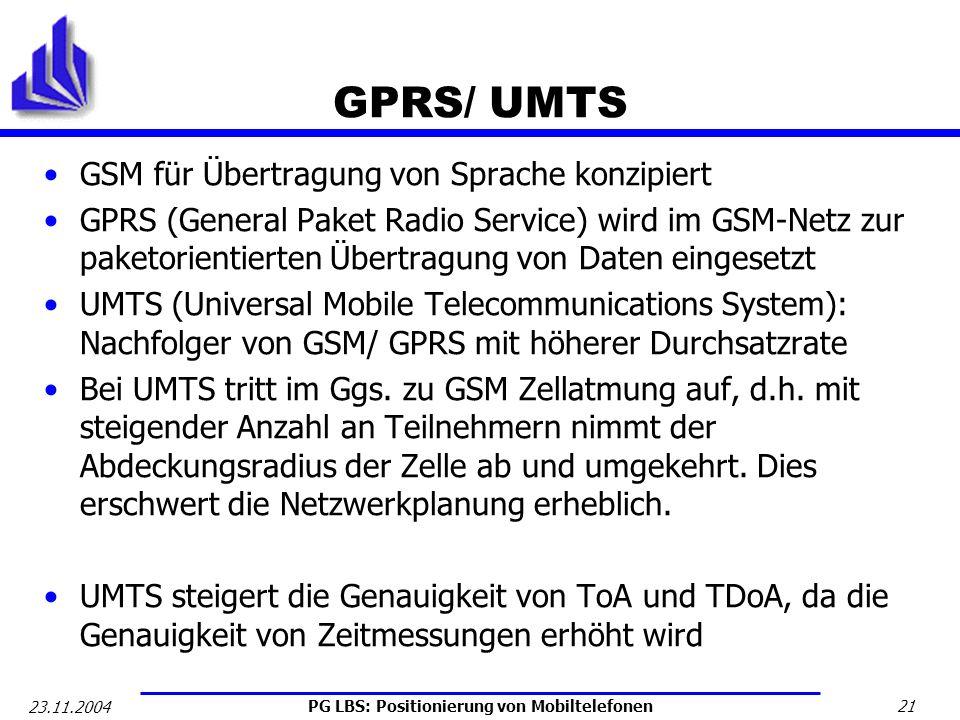 GPRS/ UMTS GSM für Übertragung von Sprache konzipiert