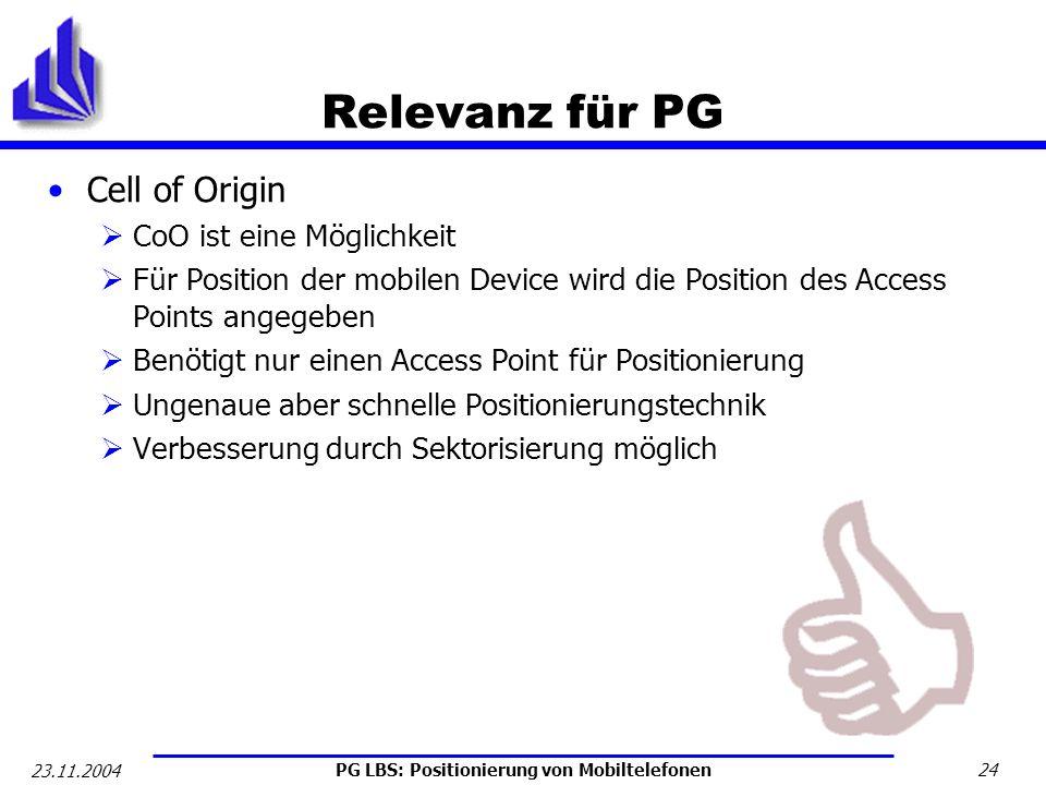 Relevanz für PG Cell of Origin CoO ist eine Möglichkeit